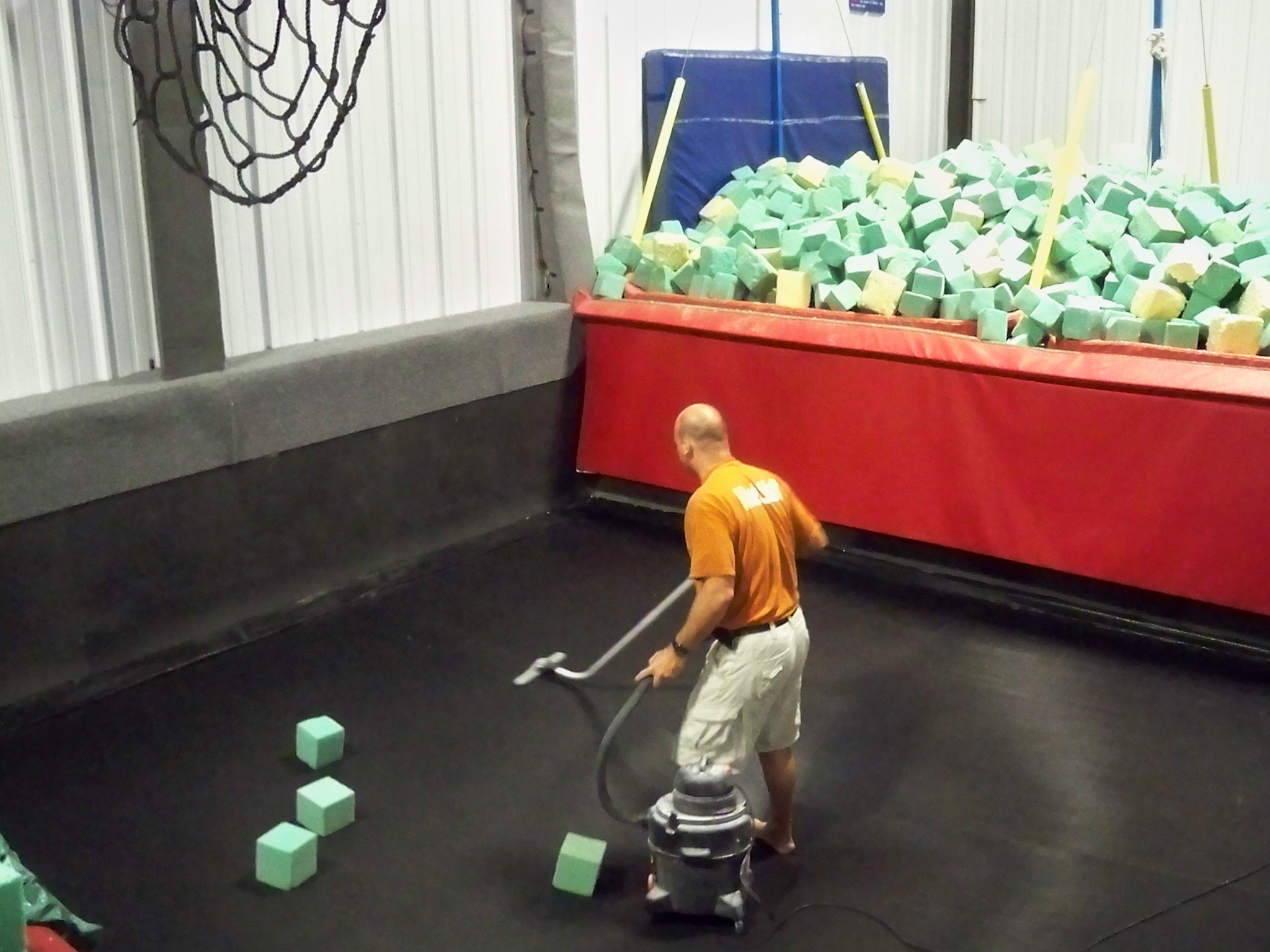 Here I am vacuuming the empty pit.