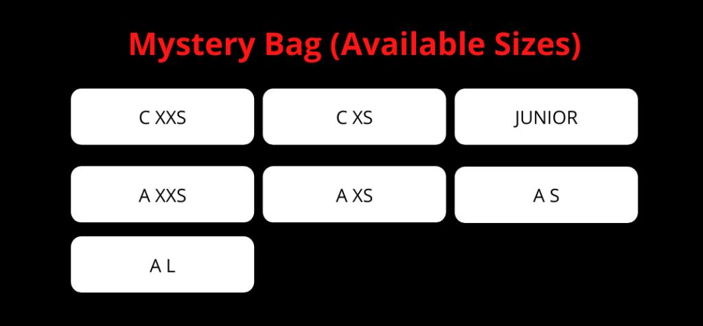 mystery box size chart