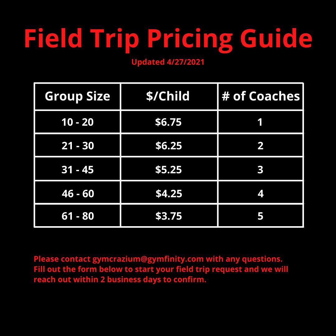 Field Trip Pricing Chart